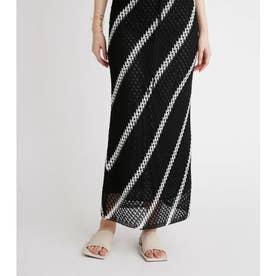 かぎ針編みライクニットスカート (BLK)