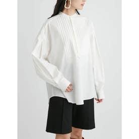 スタンドカラーワイドドレスシャツ (WHT)