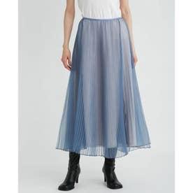 オーガンジーロングフレアプリーツスカート (BLU)