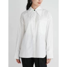 配色釦ビッグカラーワイドシャツ (WHT)