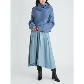 畦編ニットタックレイヤード調スカートSET UP (BLU)