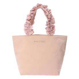 Pink Ribbonフリルハンドルトートバッグ (ピンクベージュ)