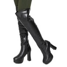 Mafmof(マフモフ) フレアヒールのニーハイロングブーツ (ブラック・PU)