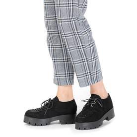 Mafmof(マフモフ) おじ靴オックスフォードのラバーソールシューズ (ブラックスエード・ブラック)