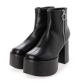 Mafmof(マフモフ) リングジップストーム付き 厚底ブーツ (ブラック・PU)