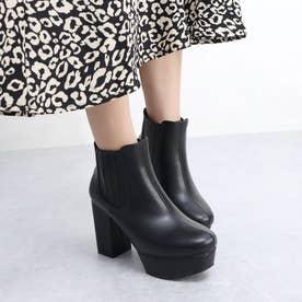 ElvisLuce(エルビスルーチェ) 厚底サイドゴアストーム入りヒール ブーツ (ブラック・PU)