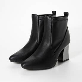 Mafmof(マフモフ) 変形メタリックヒールストレッチ素材 ブーツ (ブラック・PU)