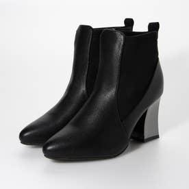Mafmof(マフモフ) 変形メタリックヒールストレッチ素材 ブーツ (ブラックPU・スエード)
