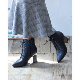 Mafmof(マフモフ) 変形メタリックヒールレースアップ ブーツ (ブラック・PU)