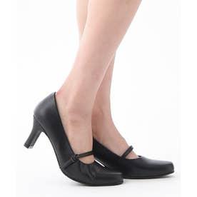 DulcisRegalo(ドルキスレガロ) 足が痛くならないストラップ付きリクルート パンプス (6.5cmヒール) (ブラック)