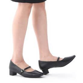 DulcisRegalo(ドルキスレガロ) 足が痛くならないストラップ付きリクルート パンプス (3.5cmヒール) (ブラック)