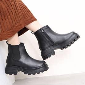 Mafmof(マフモフ) ボリュームソールスクエアサイドゴア ブーツ (ブラック・PU)