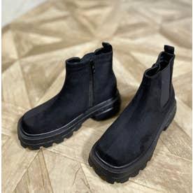 Mafmof(マフモフ) ボリュームソールスクエアサイドゴア ブーツ (ブラック・スエード)