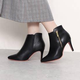 Mafmof(マフモフ) レッドソールポインテッドトゥサイドファスナーヒール ブーツ (ブラック・PU)