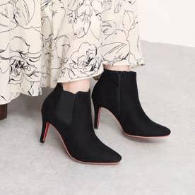 Mafmof(マフモフ) レッドソールポインテッドトゥサイドゴアヒール ブーツ (ブラック・スエード)