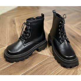 Mafmof(マフモフ) ボリュームソールスクエアレースアップ ブーツ (ブラック・PU)