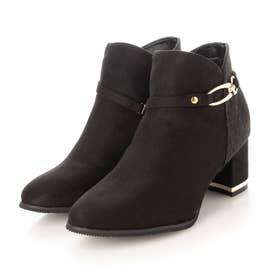 Realta(レアルタ) 2WAY飾りバックル付きヒールショート ブーツ (ブラックスエード・ツイード)