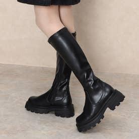Mafmof(マフモフ) ボリュームソールスクエアトゥストレッチロング ブーツ (ブラック・PU)
