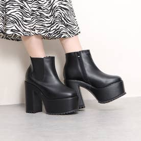 Mafmof(マフモフ) ボリュームストームヒールサイドゴアショート ブーツ (ブラック・PU)