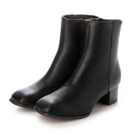 Realta(レアルタ)  スクエアトゥスタックヒールショート ブーツ (ブラック・PU)
