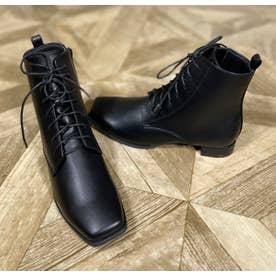 Realta(レアルタ)  スクエアトゥローヒールレースアップ ブーツ (ブラック・PU)