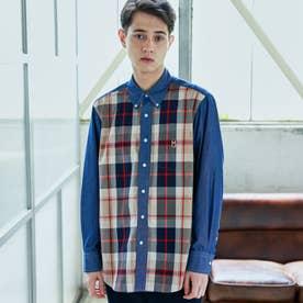 タータンチェック バッキンガムベア ボタンダウンシャツ (ブルー)