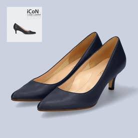 【 iCoN COLORS 】5.0cmヒール 痛くなりにくい 美脚 ポインテッドトゥ スムース カラーパンプス/C57173 (ネイビー)