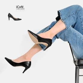 【 iCoN COLORS 】7.0cmヒール 痛くなりにくい 美脚 ポインテッドトゥ スムース カラーパンプス/C76533 (ブラック)