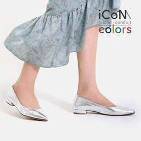 【 iCoN COLORS 】1.5cmヒール 痛くなりにくい 美脚 ポインテッドトゥ スムース カラーパンプス/C20143 (シルバー)