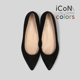 【 iCoN COLORS 】1.5cmヒール 痛くなりにくい 美脚 ポインテッドトゥ スエード カラーパンプス (全3色)/C20142 (ブラックS)