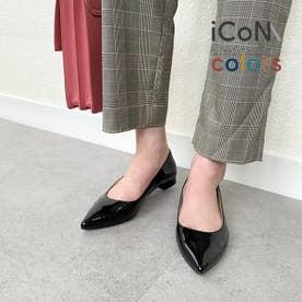 【 iCoN COLORS 】1.5cmヒール 痛くなりにくい 美脚 ポインテッドトゥ スムース カラーパンプス (全3色)/C20141 (ブラックE)