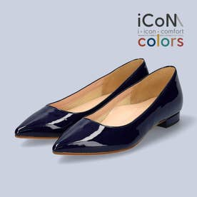 【 iCoN COLORS 】1.5cmヒール 痛くなりにくい 美脚 ポインテッドトゥ スムース カラーパンプス/C20141 (ネイビーE)