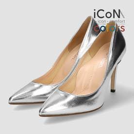 【 iCoN COLORS 】9.0cmヒール 痛くなりにくい 美脚 ポインテッドトゥ スムース カラーパンプス/C9043 (シルバー)