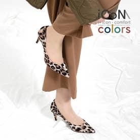 【 iCoN COLORS 】7.0cmヒール 痛くなりにくい 美脚 ポインテッドトゥ スエード カラーパンプス (全5色)/C76532 (BレオパードS)