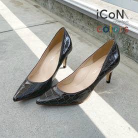 【 iCoN COLORS 】7.0cmヒール 痛くなりにくい 美脚 ポインテッドトゥ クロコ型押し カラーパンプス/C76534 (チャコールCR)