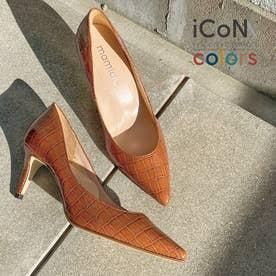 【 iCoN COLORS 】7.0cmヒール 痛くなりにくい 美脚 ポインテッドトゥ クロコ型押し カラーパンプス (全5色)/C76534 (キャメルCR)