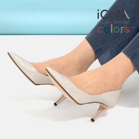 【 iCoN COLORS 】7.0cmヒール 痛くなりにくい 美脚 ポインテッドトゥ エナメル カラーパンプス/C76531 (アイボリーE)