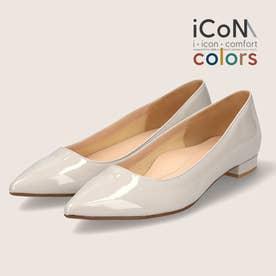【 iCoN COLORS 】1.5cmヒール 痛くなりにくい 美脚 ポインテッドトゥ スムース カラーパンプス/C20141 (アイボリーE)