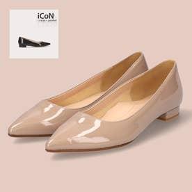 【 iCoN COLORS 】1.5cmヒール 痛くなりにくい 美脚 ポインテッドトゥ スムース カラーパンプス/C20141 (グレージュE)