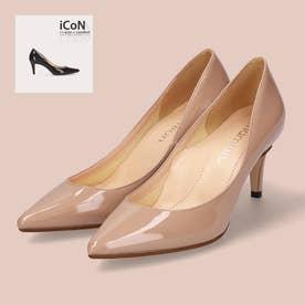 【 iCoN COLORS 】7.0cmヒール 痛くなりにくい 美脚 ポインテッドトゥ エナメル カラーパンプス/C76531 (グレージュE)