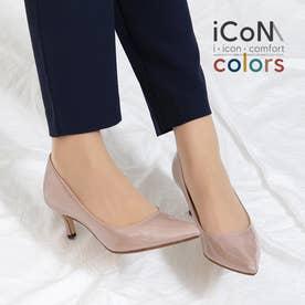 【 iCoN COLORS 】5.0cmヒール 痛くなりにくい 美脚 ポインテッドトゥ エナメル カラーパンプス/C57171 (グレージュE)