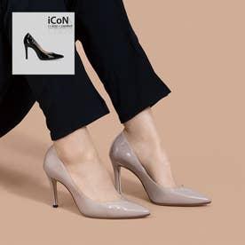 【 iCoN COLORS 】9.0cmヒール 痛くなりにくい 美脚 ポインテッドトゥ エナメル カラーパンプス/C9041 (グレージュE)
