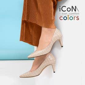 【 iCoN COLORS 】7.0cmヒール 痛くなりにくい 美脚 ポインテッドトゥ クロコ型押し カラーパンプス/C76534 (LベージュCR)