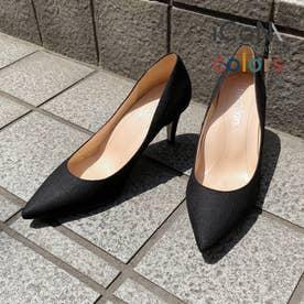 【 iCoN COLORS 】7.0cmヒール 痛くなりにくい 美脚 ポインテッドトゥ リネン カラーパンプス/C76535 (ブラックL)