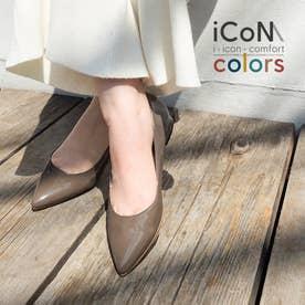 【 iCoN COLORS 】1.5cmヒール 痛くなりにくい 美脚 ポインテッドトゥ エナメル カラーパンプス/C20141 (DグレージュE)