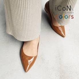 【 iCoN COLORS 】1.5cmヒール 痛くなりにくい 美脚 ポインテッドトゥ エナメル カラーパンプス/C20141 (ブラウンE)