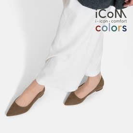 【 iCoN COLORS 】1.5cmヒール 痛くなりにくい 美脚 ポインテッドトゥ スエード カラーパンプス/C20142 (トープS)