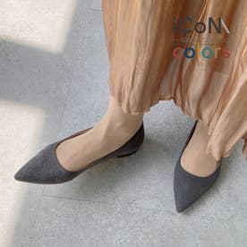 【 iCoN COLORS 】1.5cmヒール 痛くなりにくい 美脚 ポインテッドトゥ スエード カラーパンプス/C20142 (グレーS)