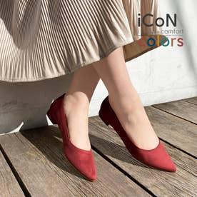 【 iCoN COLORS 】1.5cmヒール 痛くなりにくい 美脚 ポインテッドトゥ スエード カラーパンプス/C20142 (ボルドーS)