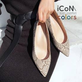 【 iCoN COLORS 】1.5cmヒール 痛くなりにくい 美脚 ポインテッドトゥ スムース カラーパンプス/C20143 (パイソン)